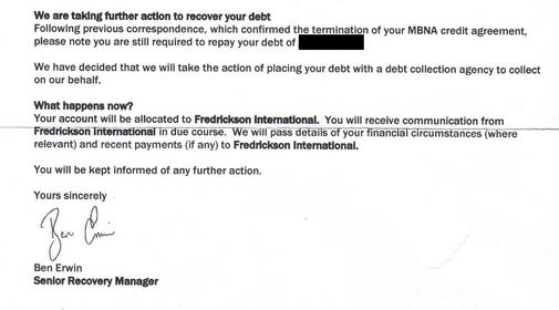 Fredrickson Debt Collection >> Please Help Mbna Still Harassing After No Contract