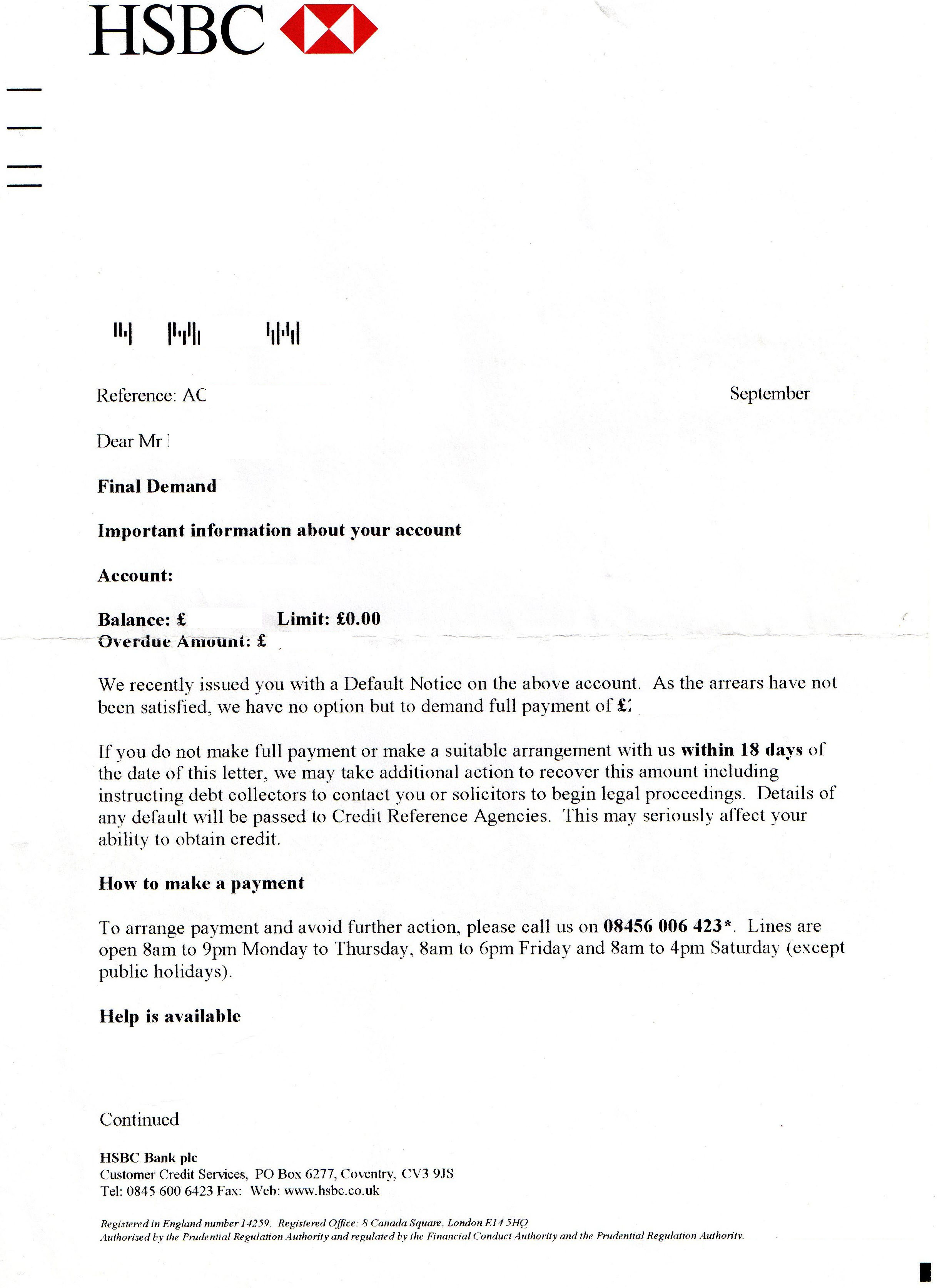 Removal of a default notice applied by HSBC - Page 2 - HSBC